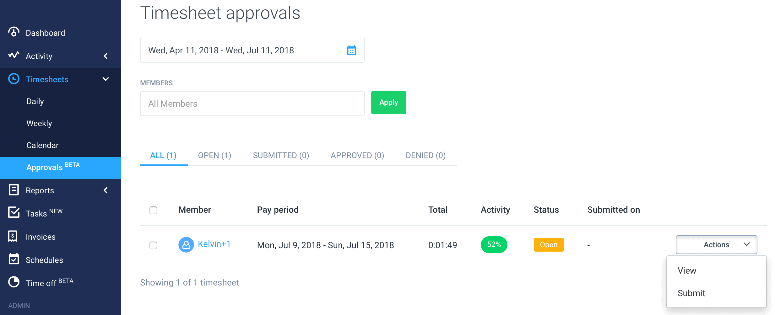 timesheet approval dashboard hubstaff