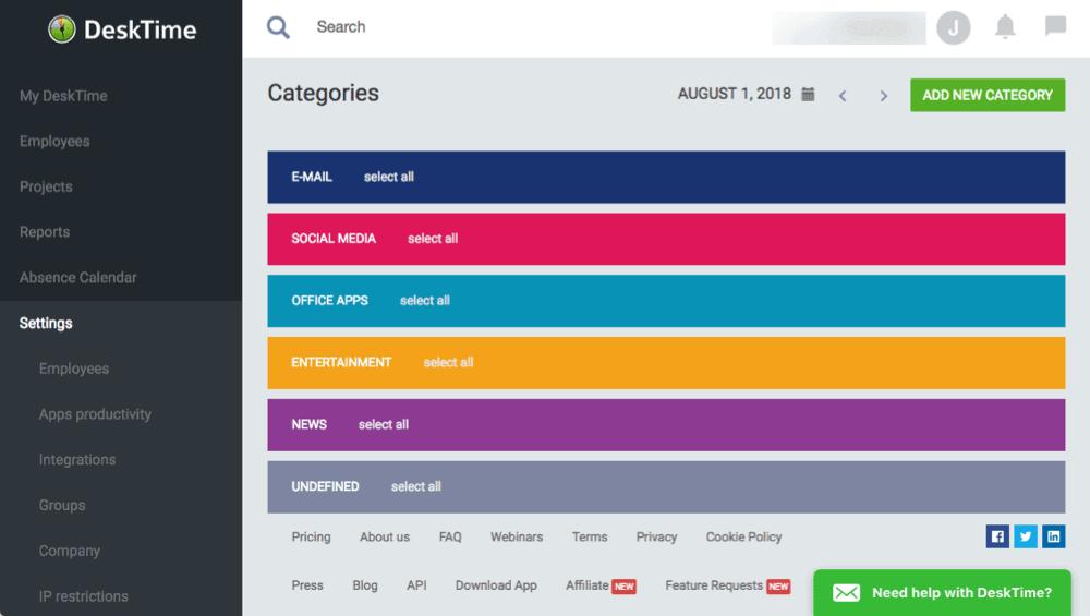 desktime example screen