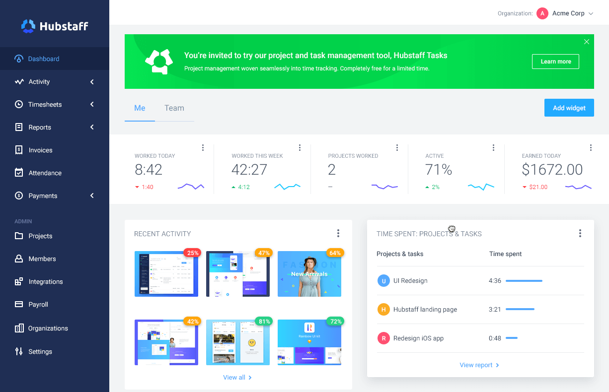 dashboard for hubstaff web app