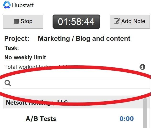 project search in hubstaff desktop timer app