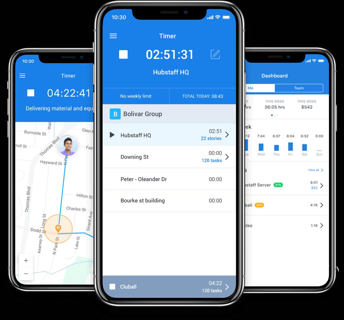 mobile time tracking app hubstaff