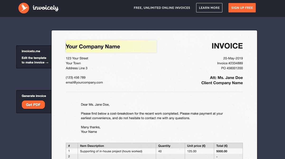 invoicely free invoice tool