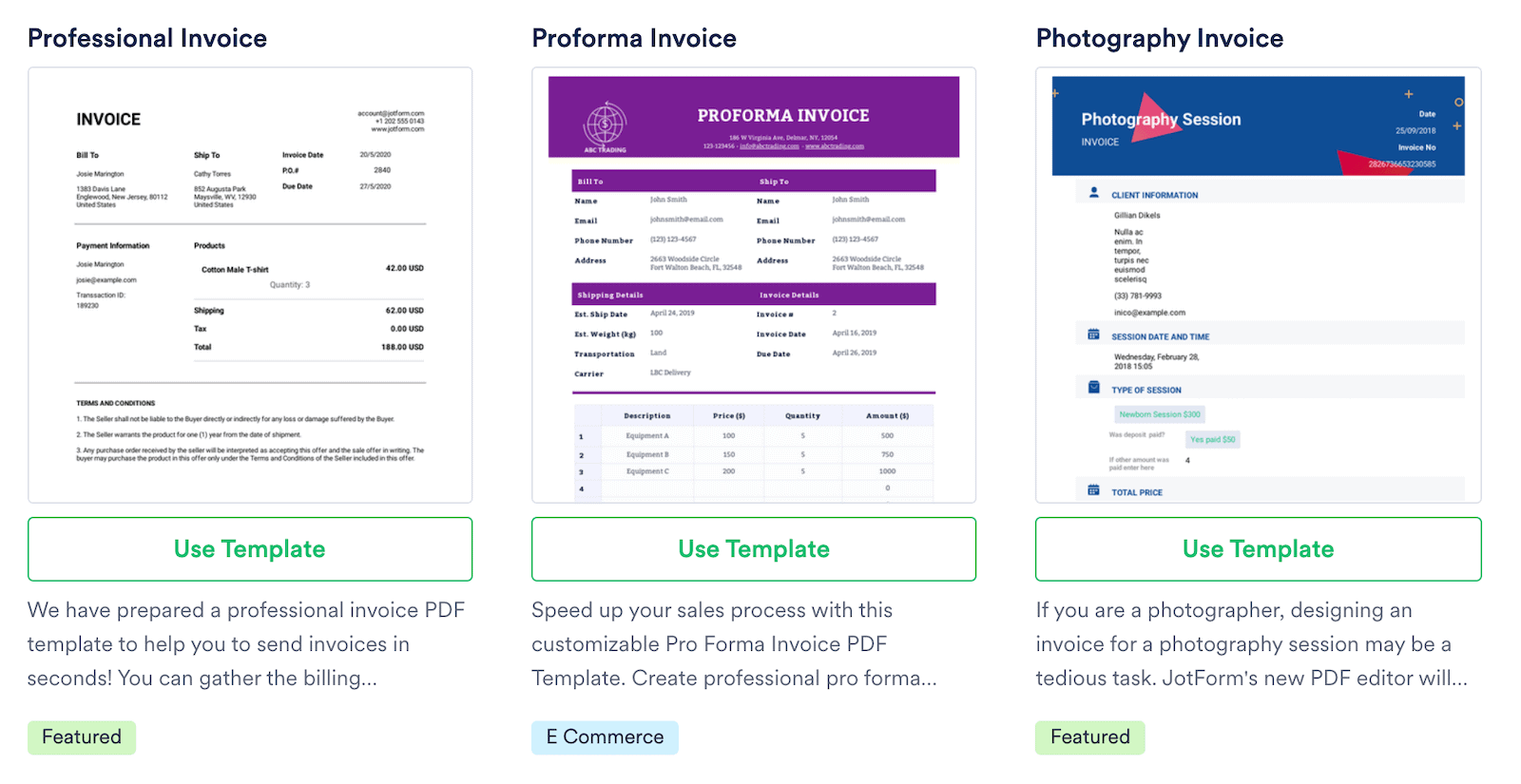 jotform free PDF template