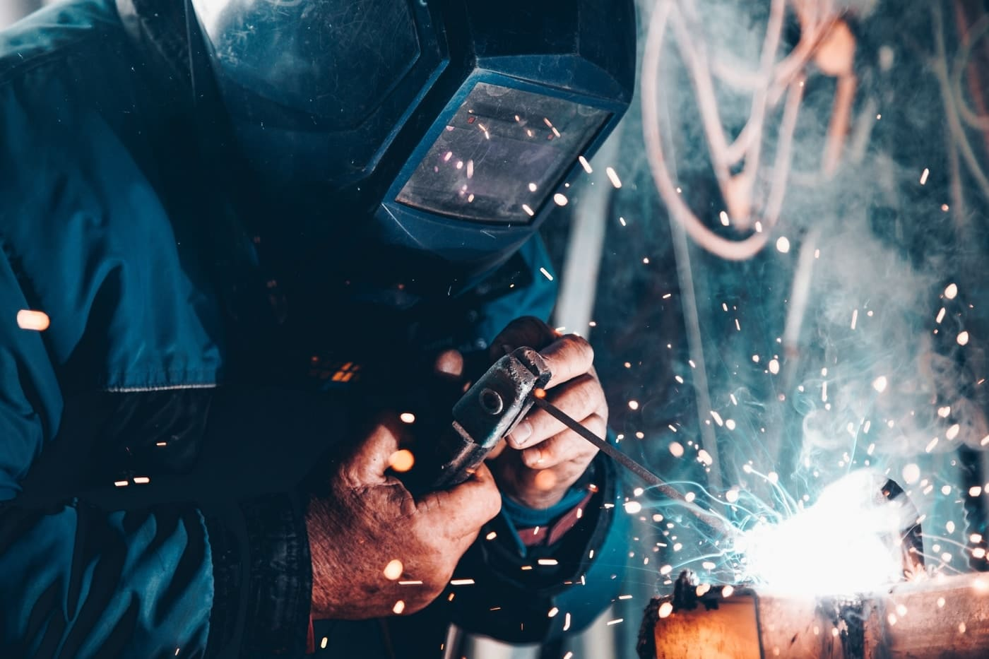 manufacturing plant person welding