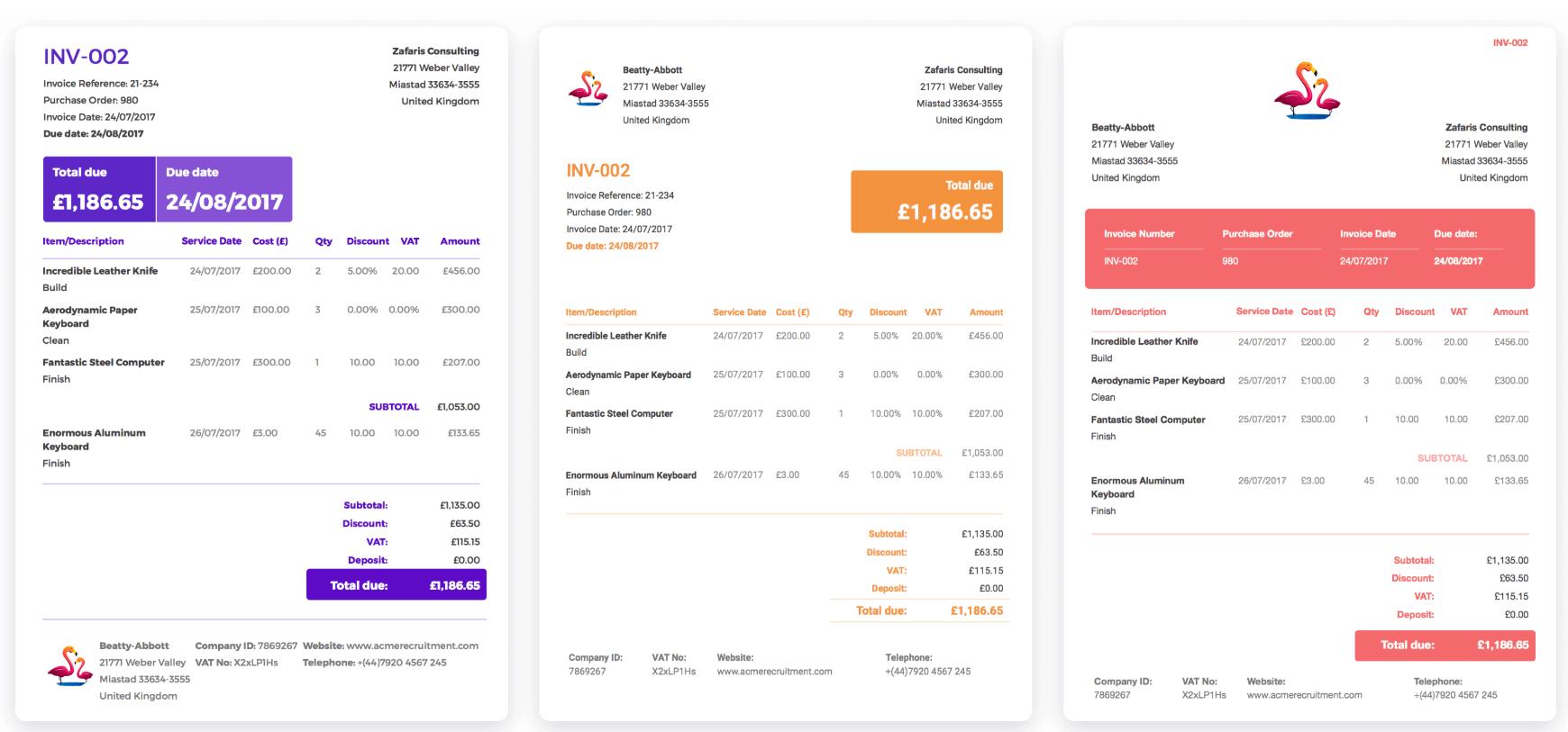 solna invoice template