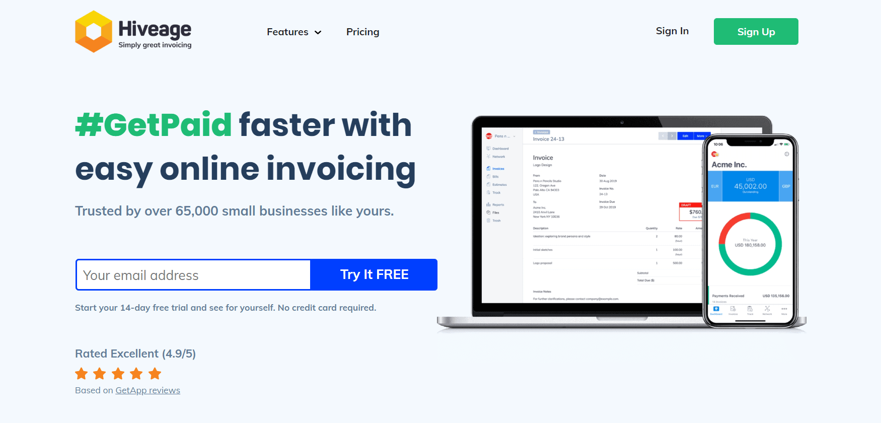 Hiveage online invoicing for freelancers