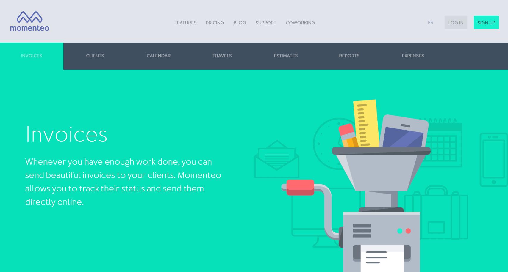 Momenteo freelance invoices
