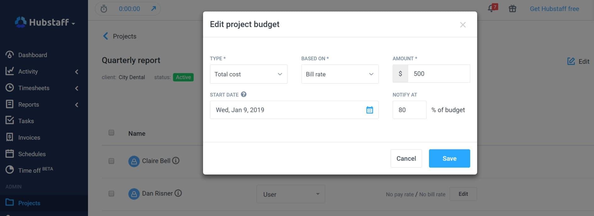 adding budgets in hubstaff