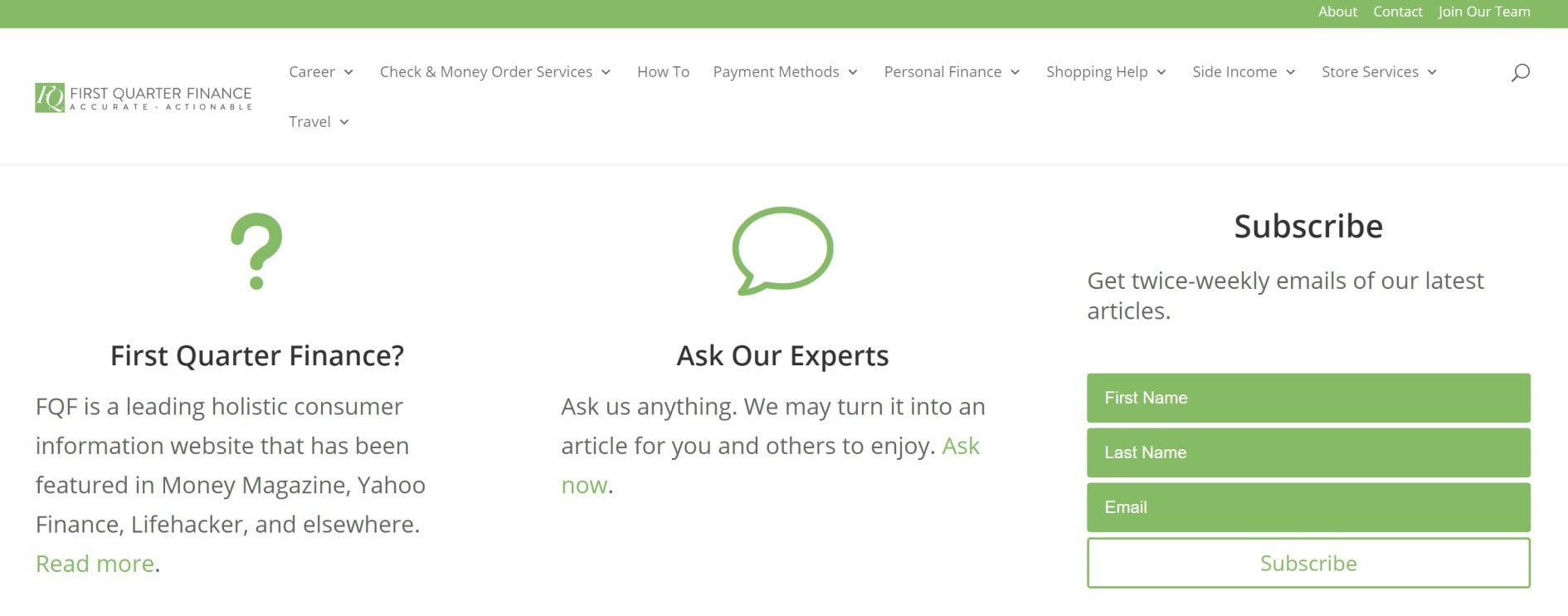 first quarter finance homepage