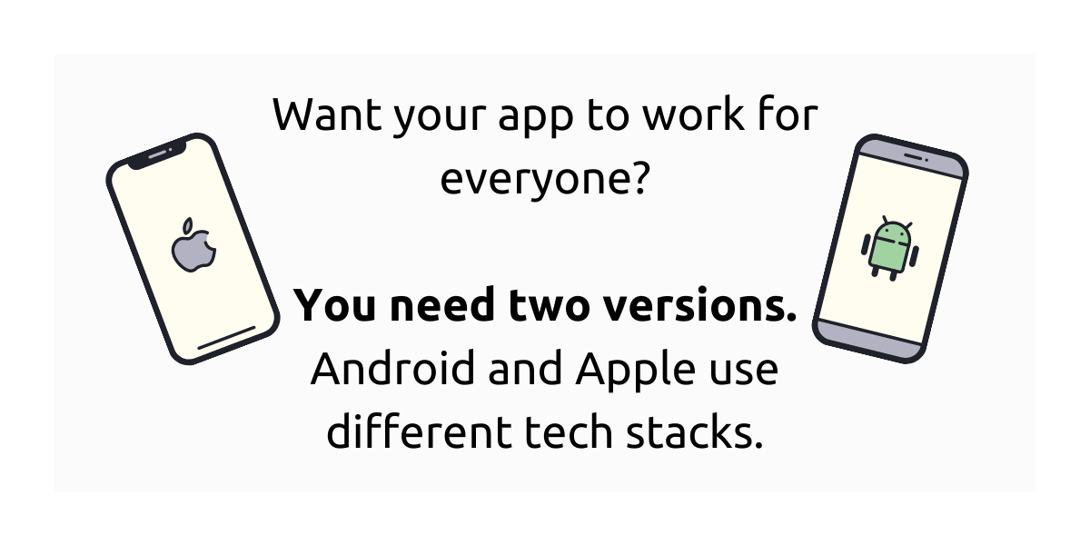 Android and Apple use different tech stacks