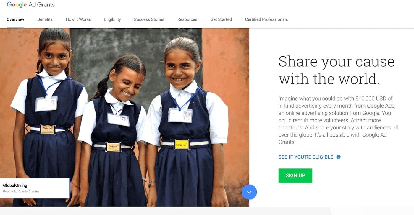 google grants homepage