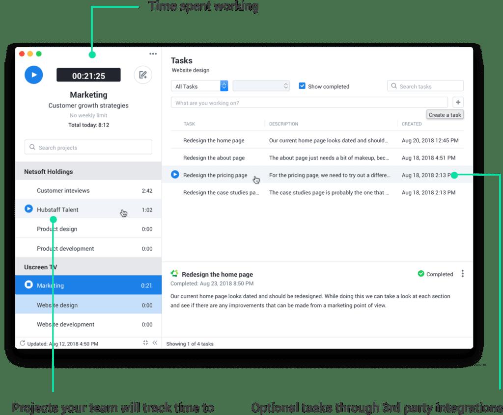 Hubstaff desk client interface