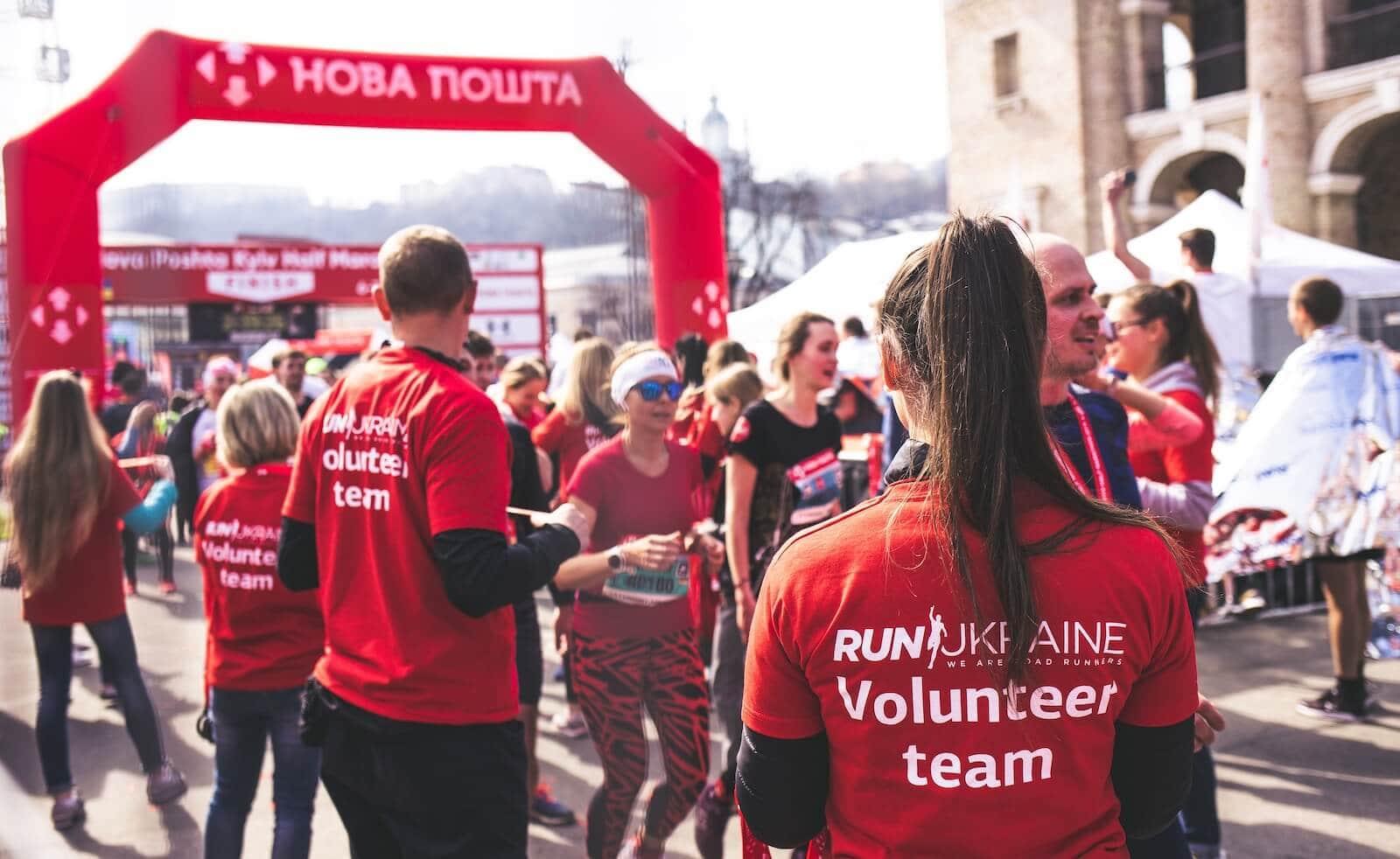 volunteers at a marathon