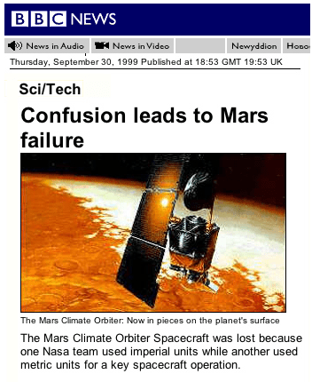 NASA confusion leads to Mars failure
