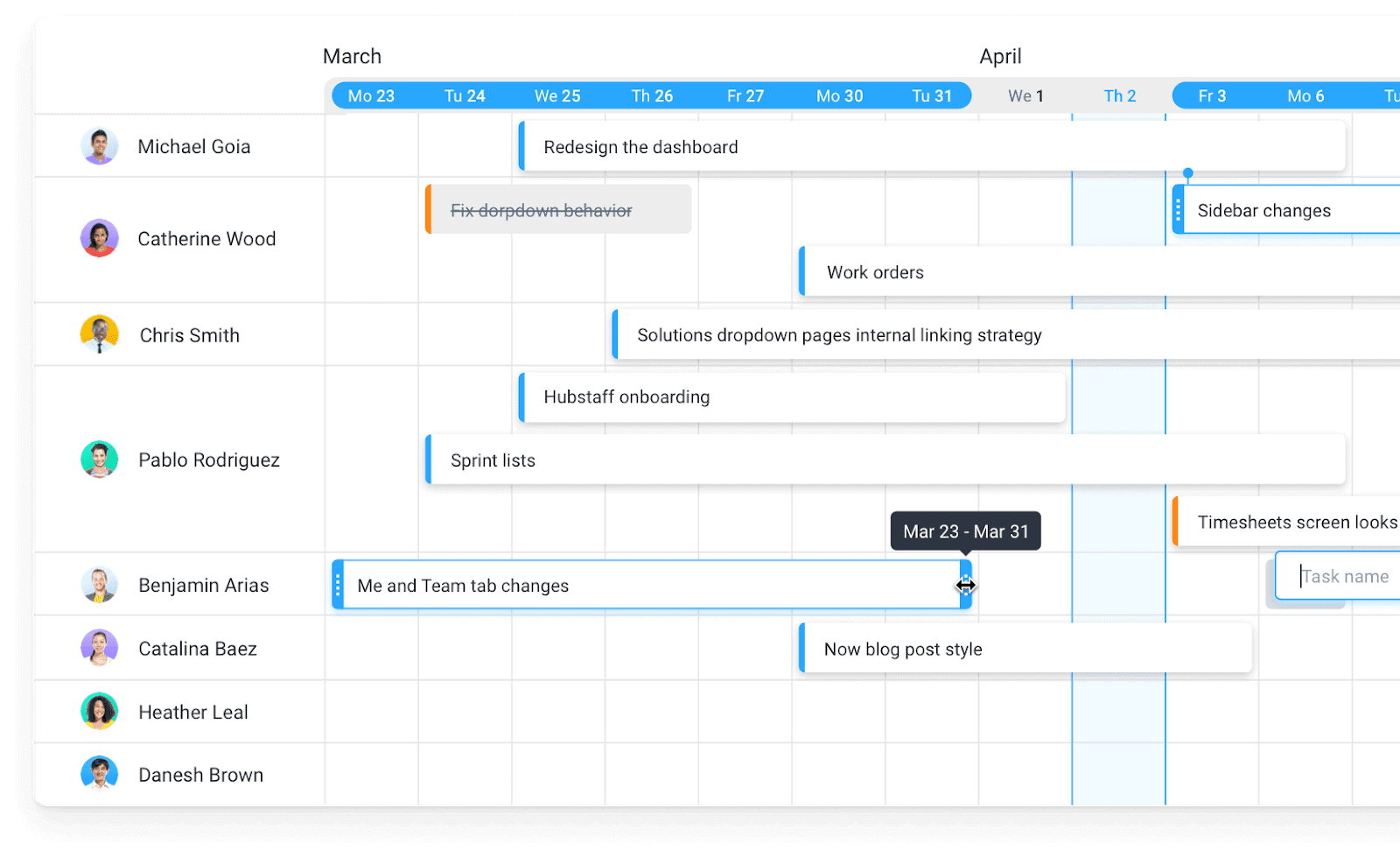 Hubstaff Tasks Timelines