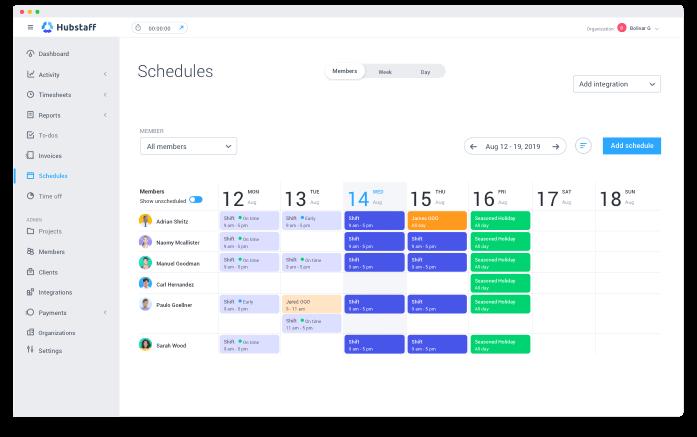 Hubstaff schedules