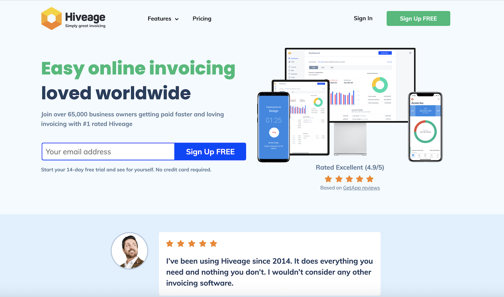 hiveage invoicing homepage