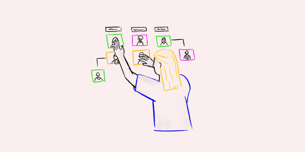 A sketch of a PM planning her project management organizational structure