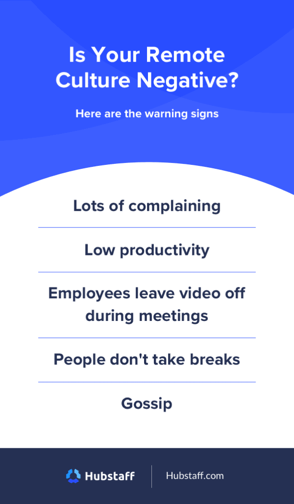 warning signs of a negative remote culture