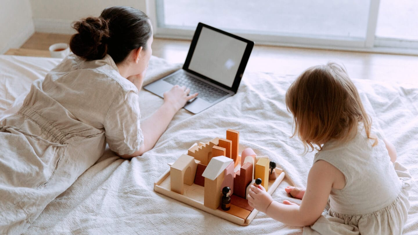 Working at home with a child