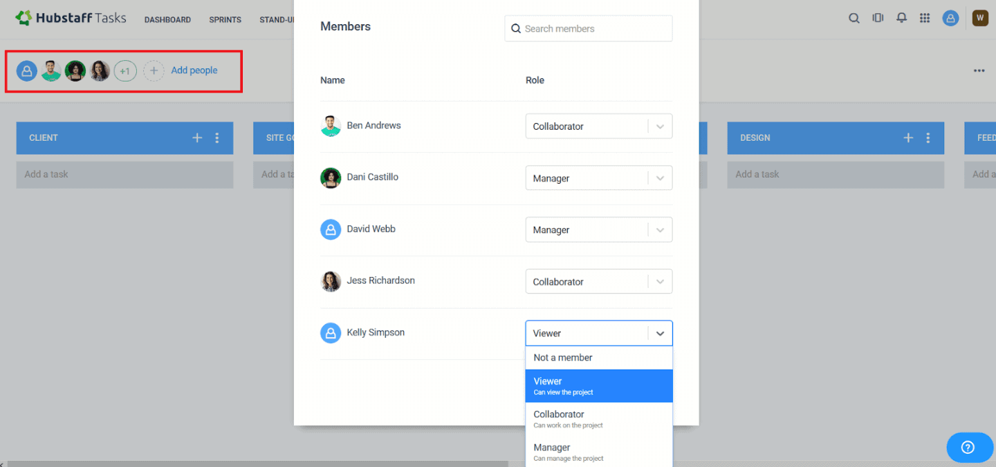 Adding people to projects
