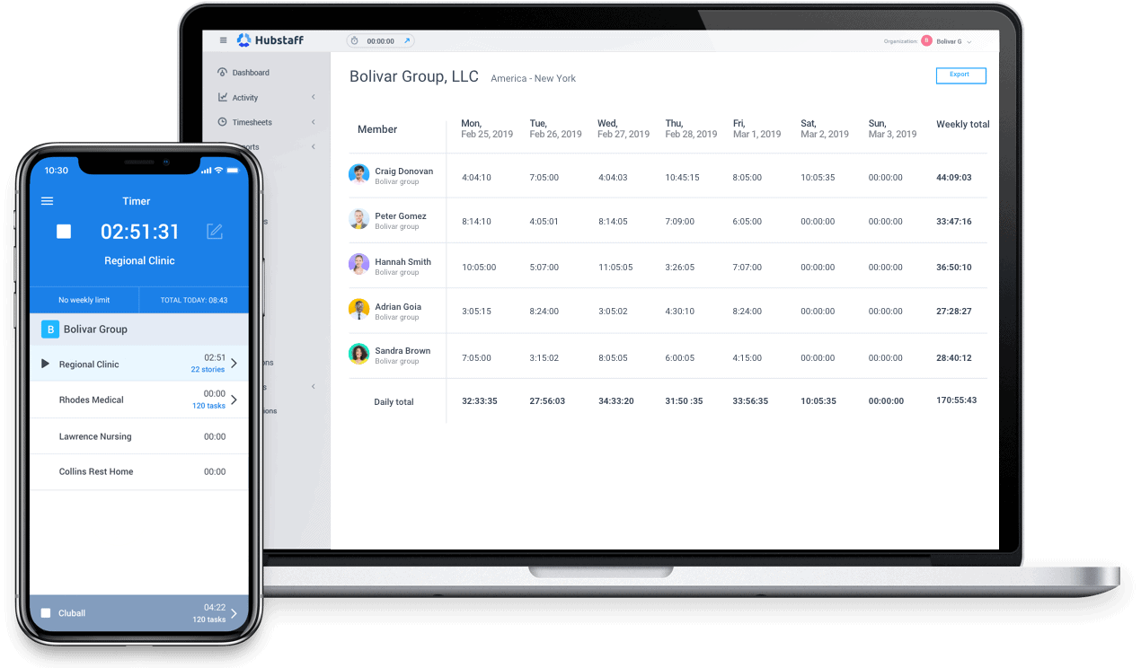 Time tracking for health teams