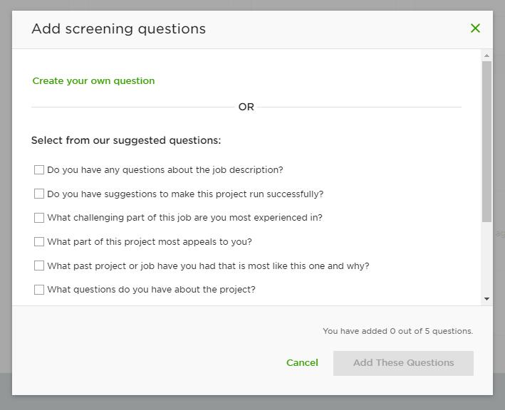 Upwork screening questions