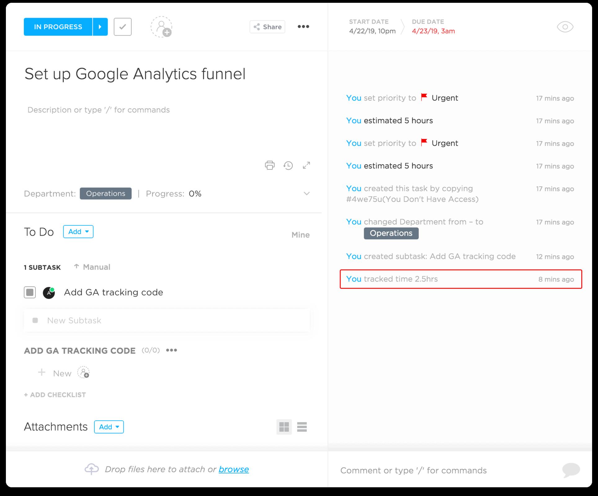 Hubstaff's ClickUp integration