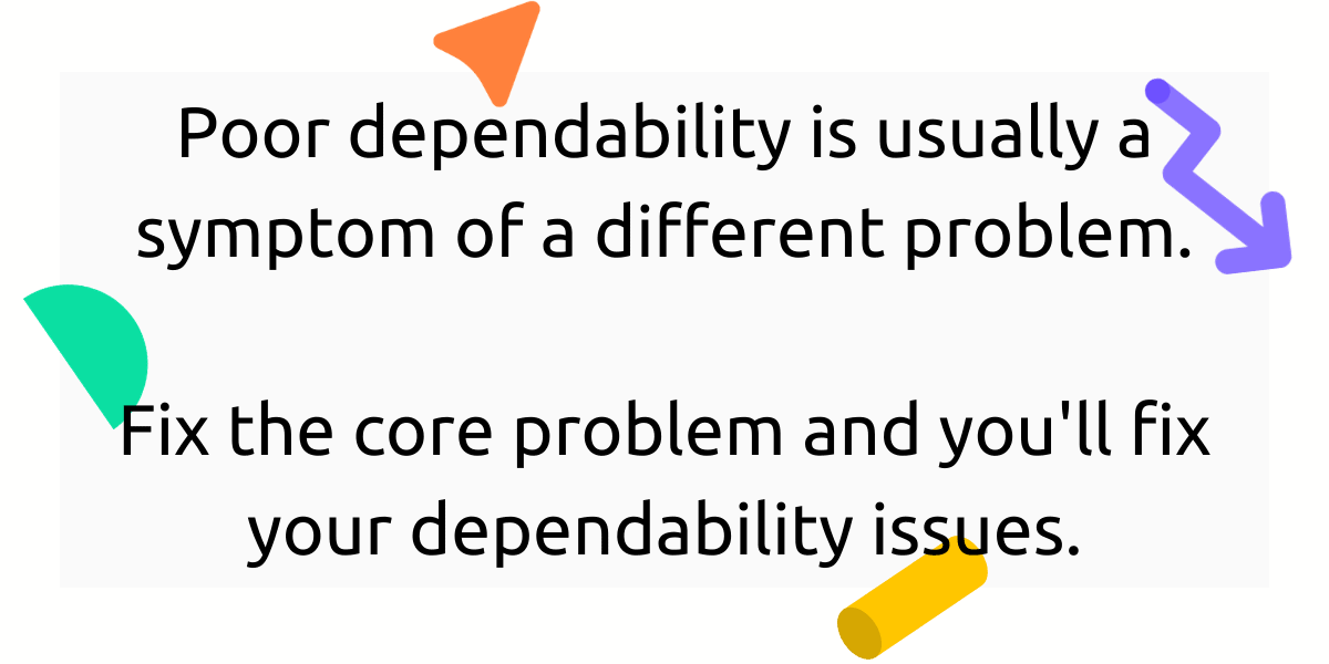 Poor dependability is usually a symptom of a different problem