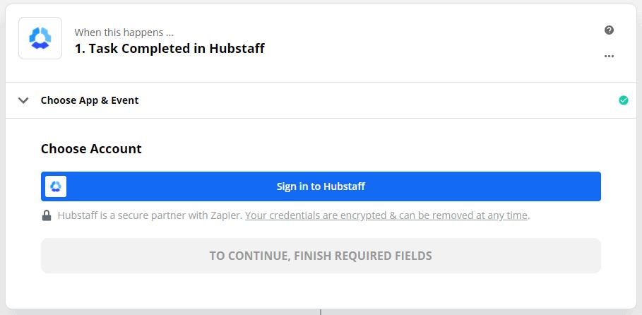 Sign in to Hubstaff on Zapier
