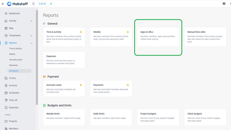 Hubstaff app & URL reports