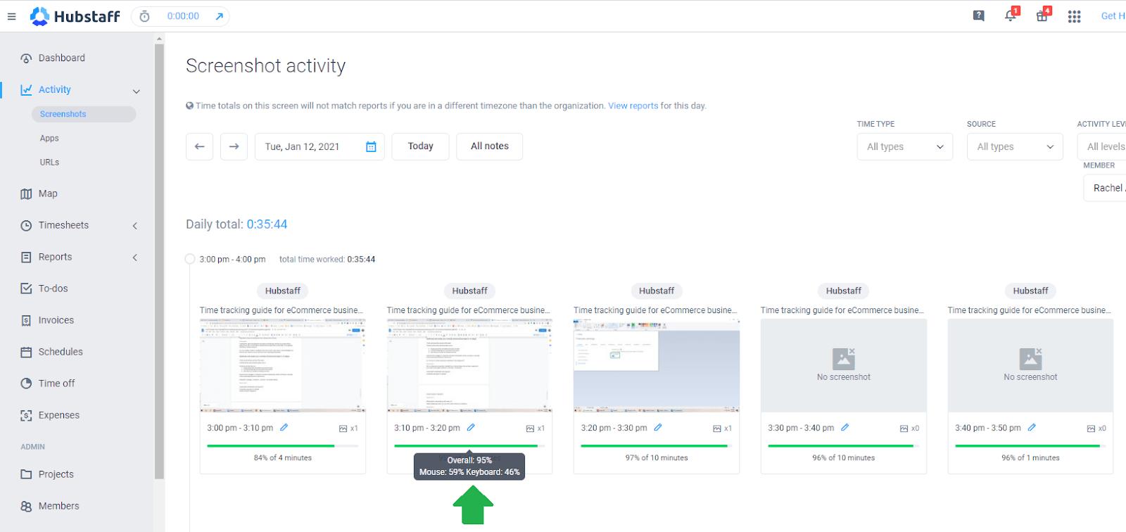 Hubstaff screenshot activity
