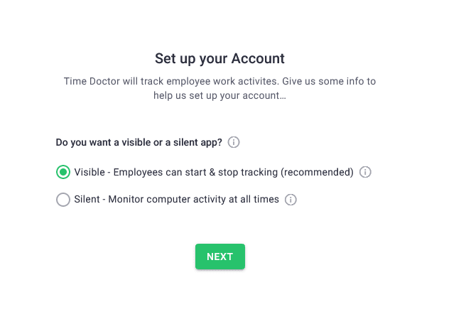 Time Doctor visible or silent app prompt
